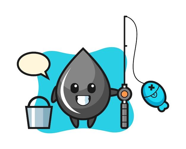 Mascotte de personnage de goutte d'huile en tant que pêcheur