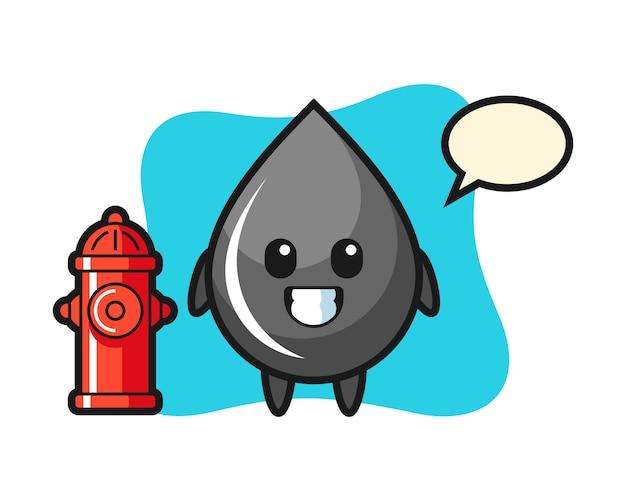Mascotte de personnage de goutte d'huile en tant que pompier
