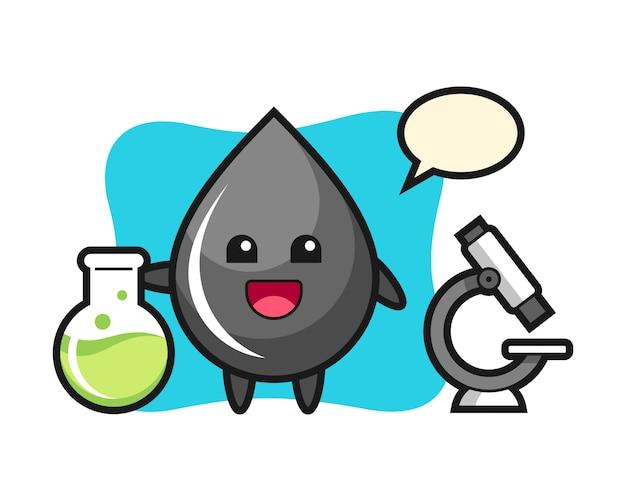 Mascotte de personnage de goutte d'huile en tant que scientifique