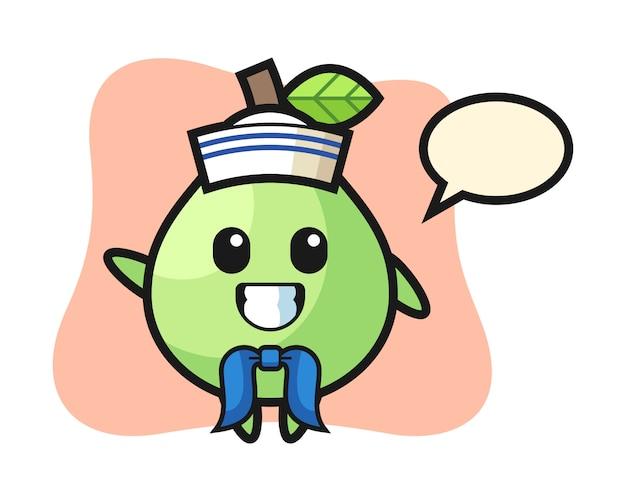 Mascotte de personnage de goyave en tant que marin, conception de style mignon pour t-shirt, autocollant, élément de logo