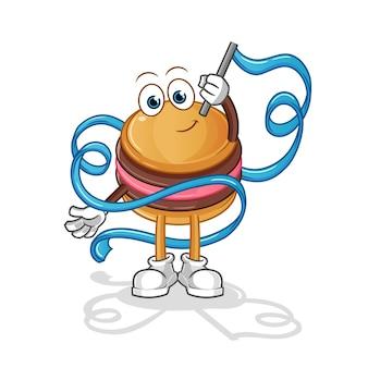 Mascotte de personnage de gymnastique rythmique macaron
