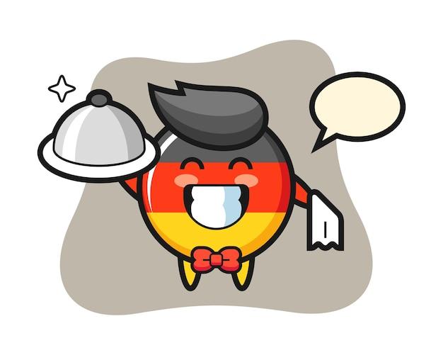 Mascotte de personnage d'insigne de drapeau de l'allemagne en tant que serveurs