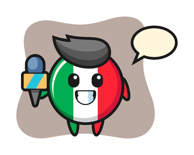 Mascotte de personnage d'insigne de drapeau italien en tant que journaliste de presse, style mignon, autocollant, élément de logo