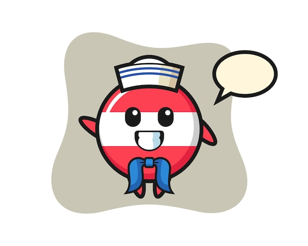 Mascotte de personnage d'insigne du drapeau autrichien en tant que marin