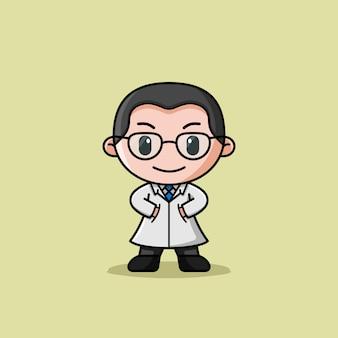Mascotte de personnage de logo de manteau de docteur
