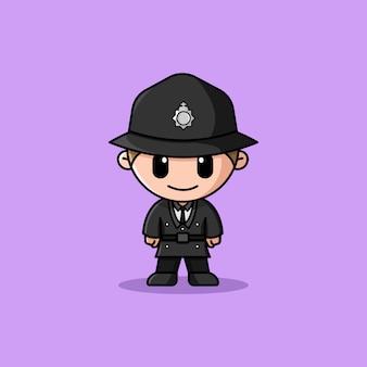 Mascotte de personnage de logo d'officier de police britannique