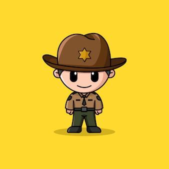 Mascotte de personnage de logo shérif
