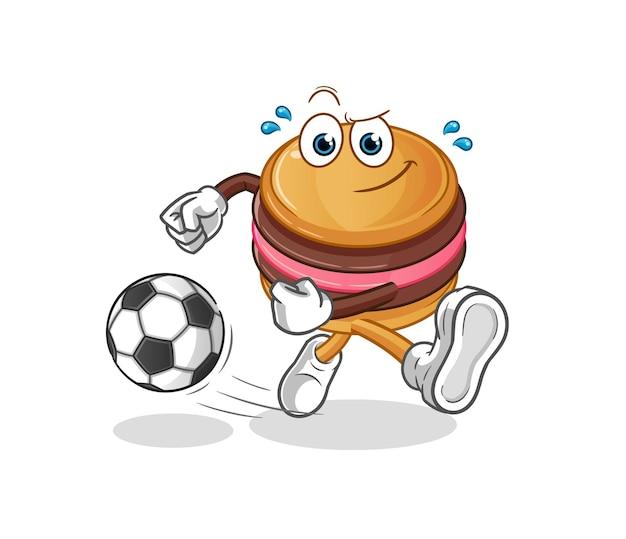 Mascotte de personnage de macaron botter le ballon