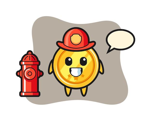 Mascotte de personnage de médaille en tant que pompier