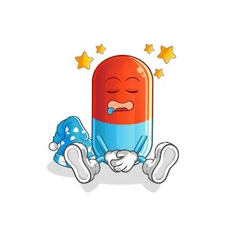 Mascotte de personnage de médecine endormie