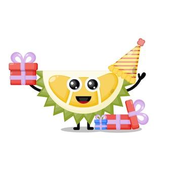 Mascotte de personnage mignon anniversaire durian