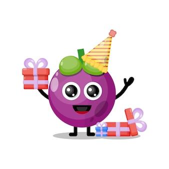 Mascotte de personnage mignon anniversaire mangoustan