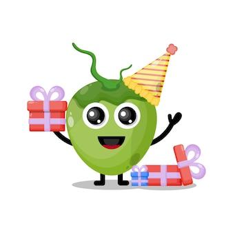 Mascotte de personnage mignon d'anniversaire de noix de coco