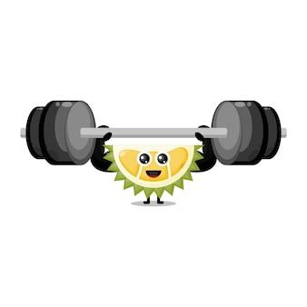 Mascotte de personnage mignon barbell fitness durian