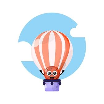 Mascotte de personnage mignon de basket-ball en montgolfière