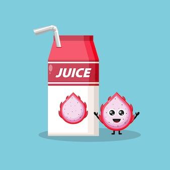 Mascotte de personnage mignon de boîte d'emballage de jus de fruit de dragon