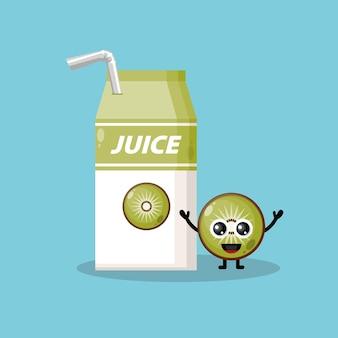 Mascotte de personnage mignon de boîte de jus de kiwi