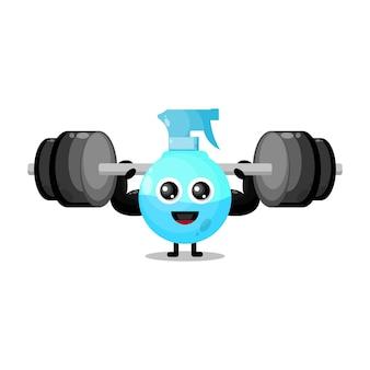 Mascotte de personnage mignon de bouteille de pulvérisation de remise en forme d'haltères