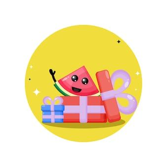 Mascotte de personnage mignon de cadeau d'anniversaire de pastèque