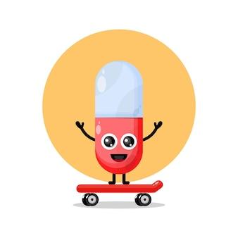 Mascotte de personnage mignon capsule de skateboard