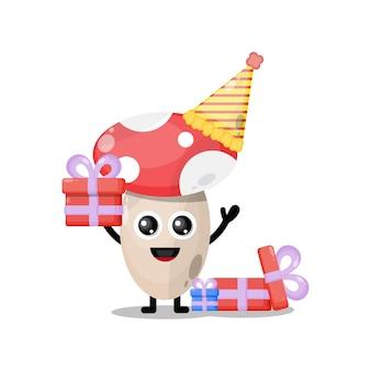 Mascotte de personnage mignon de champignon d'anniversaire