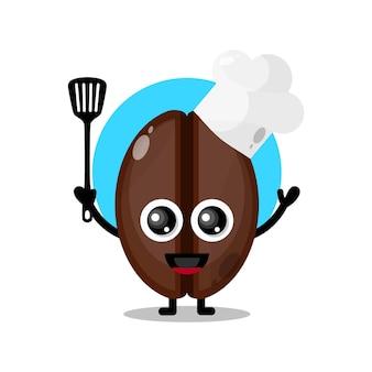 Mascotte de personnage mignon de chef de café