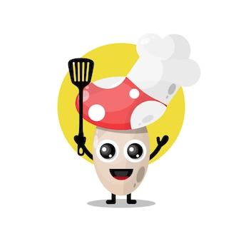 Mascotte de personnage mignon de chef de champignon