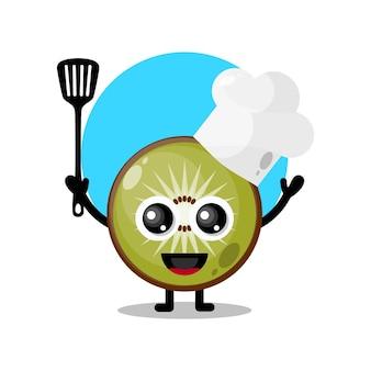 Mascotte de personnage mignon de chef de kiwi