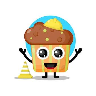 Mascotte de personnage mignon cupcake ouvrier du bâtiment-