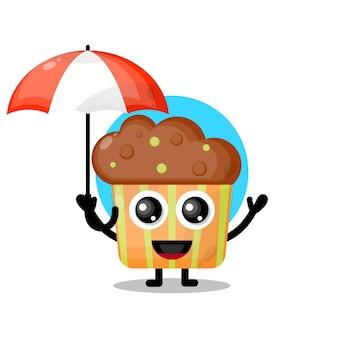 Mascotte de personnage mignon cupcake parapluie