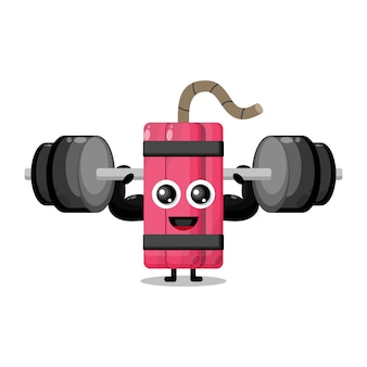 Mascotte de personnage mignon d'haltères de fitness dynamite