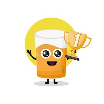 Mascotte de personnage mignon de jus de verre trophée