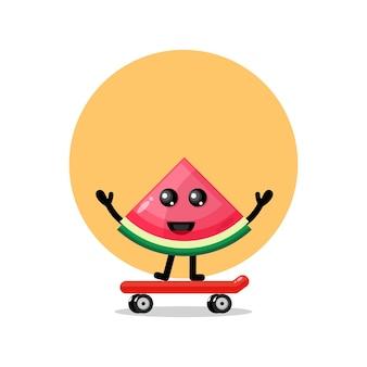 Mascotte de personnage mignon de karaoké d'hippopotame de skateboard de pastèque