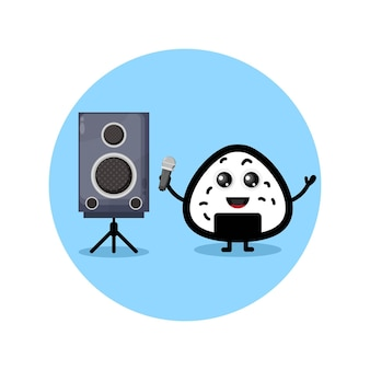 Mascotte de personnage mignon de karaoké onigiri