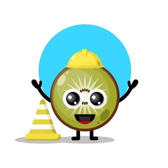 Mascotte de personnage mignon kiwi travailleur de la construction