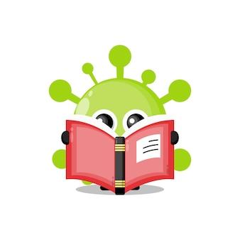 Mascotte de personnage mignon de livre de lecture de virus
