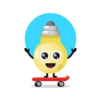 Mascotte de personnage mignon de lumières de planche à roulettes