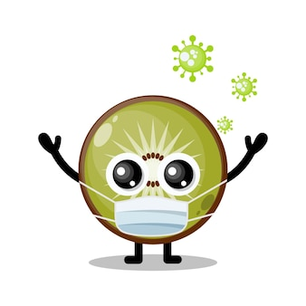 Mascotte de personnage mignon de masque de virus de kiwi