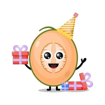Mascotte de personnage mignon de melon d'anniversaire