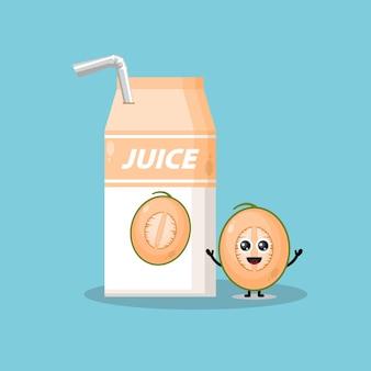 Mascotte de personnage mignon de melon de boîte de jus