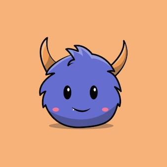 Mascotte de personnage mignon de monstre bleu. conception isolée