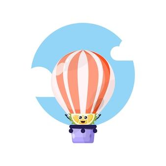 Mascotte de personnage mignon en montgolfière durian