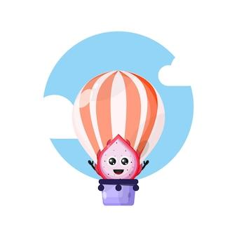 Mascotte de personnage mignon de montgolfière de fruit du dragon