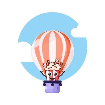 Mascotte de personnage mignon en montgolfière pop-corn