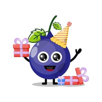 Mascotte de personnage mignon de myrtilles d'anniversaire