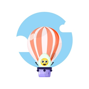Mascotte de personnage mignon d'oeuf à la coque en montgolfière