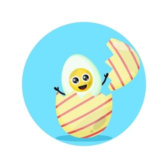 Mascotte de personnage mignon d'oeuf à la coque de pâques