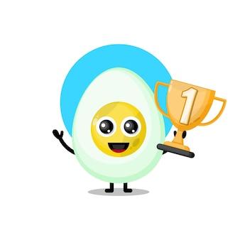 Mascotte de personnage mignon œuf à la coque trophée