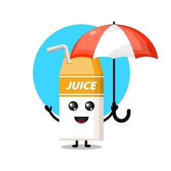Mascotte de personnage mignon de parapluie de jus d'emballage de boîte