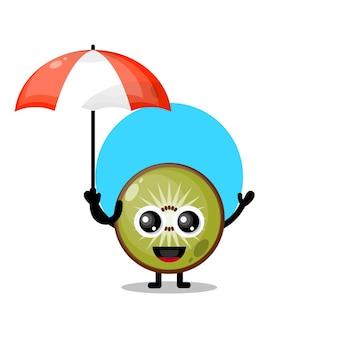Mascotte de personnage mignon parapluie kiwi